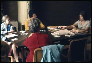 Primary view of object titled '[Celia Carroll Leads a Meeting]'.