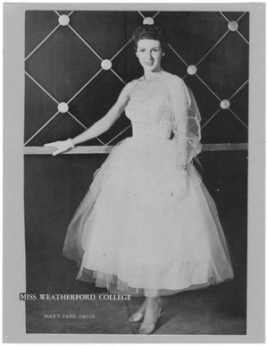 Primary view of object titled '[Mary Jane Davis, Miss Weatherford College 1956]'.