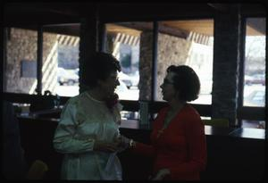 Primary view of object titled '[Two Women in a Discussion at the Herman Brown Free Library]'.