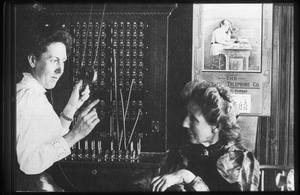 Primary view of object titled '[Two Telephone Switchboard Operators]'.