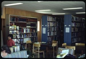 Primary view of object titled '[Library Interior with Blue Bookshelves]'.