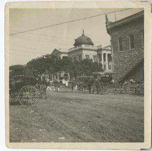 Primary view of object titled '[Cars on the Georgetown square]'.