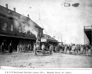 Primary view of object titled '[I & GN Railroad Station, Taylor, TX]'.