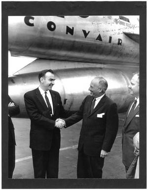 Primary view of object titled '[Jim Wright in front of a Convair jet]'.
