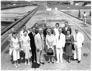 Primary view of object titled '[Jim Wright and others at the Panama canal]'.