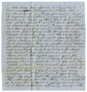 Primary view of object titled '[Letter from David Smith to Daughter, April 21, 1852]'.