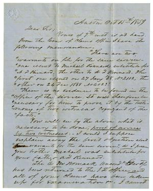 Primary view of object titled '[Letter from H.W. Raglin to A.D. Kennard Jr., October 15, 1859]'.