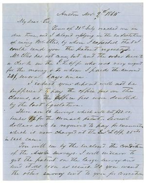 Primary view of object titled '[Letter from H.W. Raglin to A.D. Kennard, November 9, 1860]'.