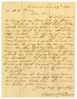 Primary view of object titled '[Letter from William McMahan to A.D. Kennard, March 7, 1862]'.