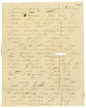 Primary view of object titled '[Letter from Phillip Sanders to A. D. Kennard, March 24, 1862]'.