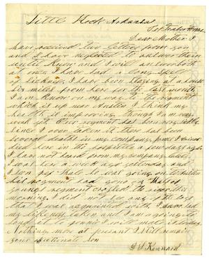 Primary view of object titled '[Letter from David S. Kennard to his mother Sarah Kennard, September 10, 1862]'.