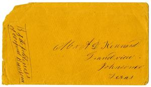 Primary view of object titled '[Envelope for letter to A.D. Kennard]'.