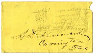 [Envelope for letter to A.D. Kennard]