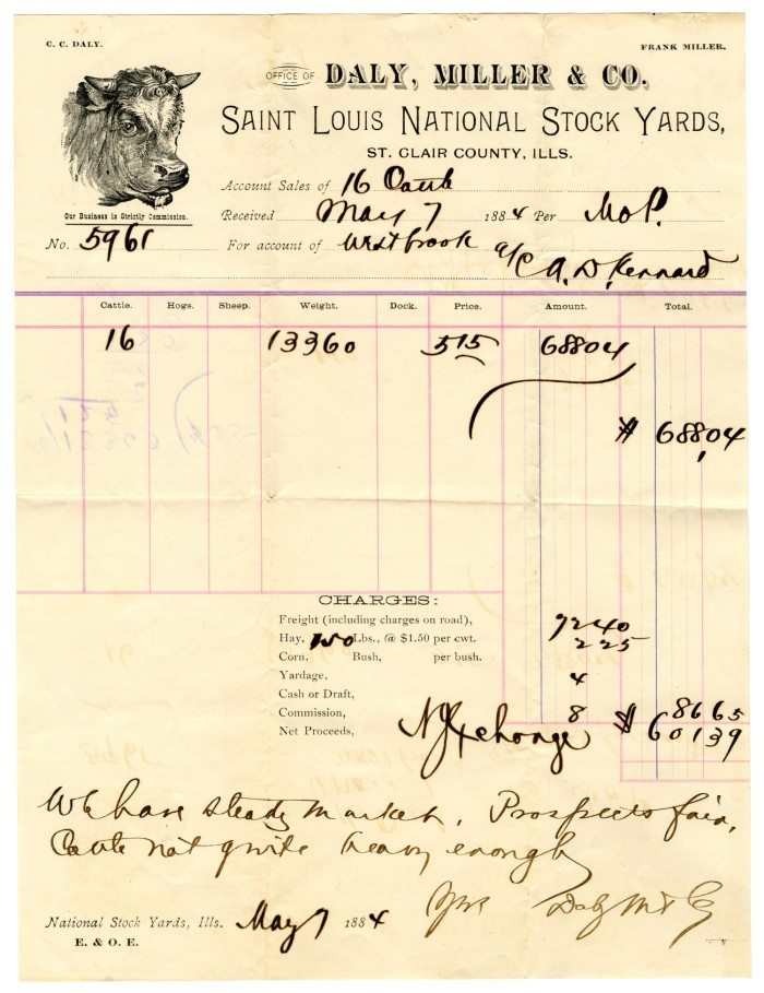 receipt from daly miller co for cattle purchase the portal