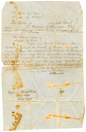 Primary view of object titled '[Legal document to William E. Kennard, June 27, 1849]'.