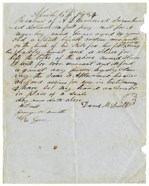 Primary view of object titled '[Receipt for sale of slave to A. D. Kennard, April 5, 1854]'.