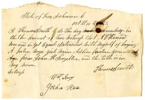 [Receipt for sale of slave to A. D. Kennard, October 10,  1842]