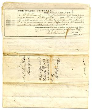 Primary view of object titled '[Bill of Sale for Cattle, February 1873]'.