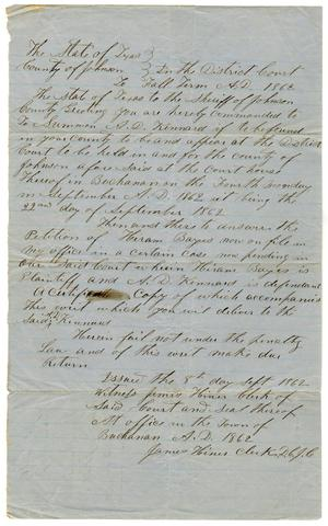 Primary view of object titled '[Court summons issued to A.D. Kennard, September 8, 1862]'.