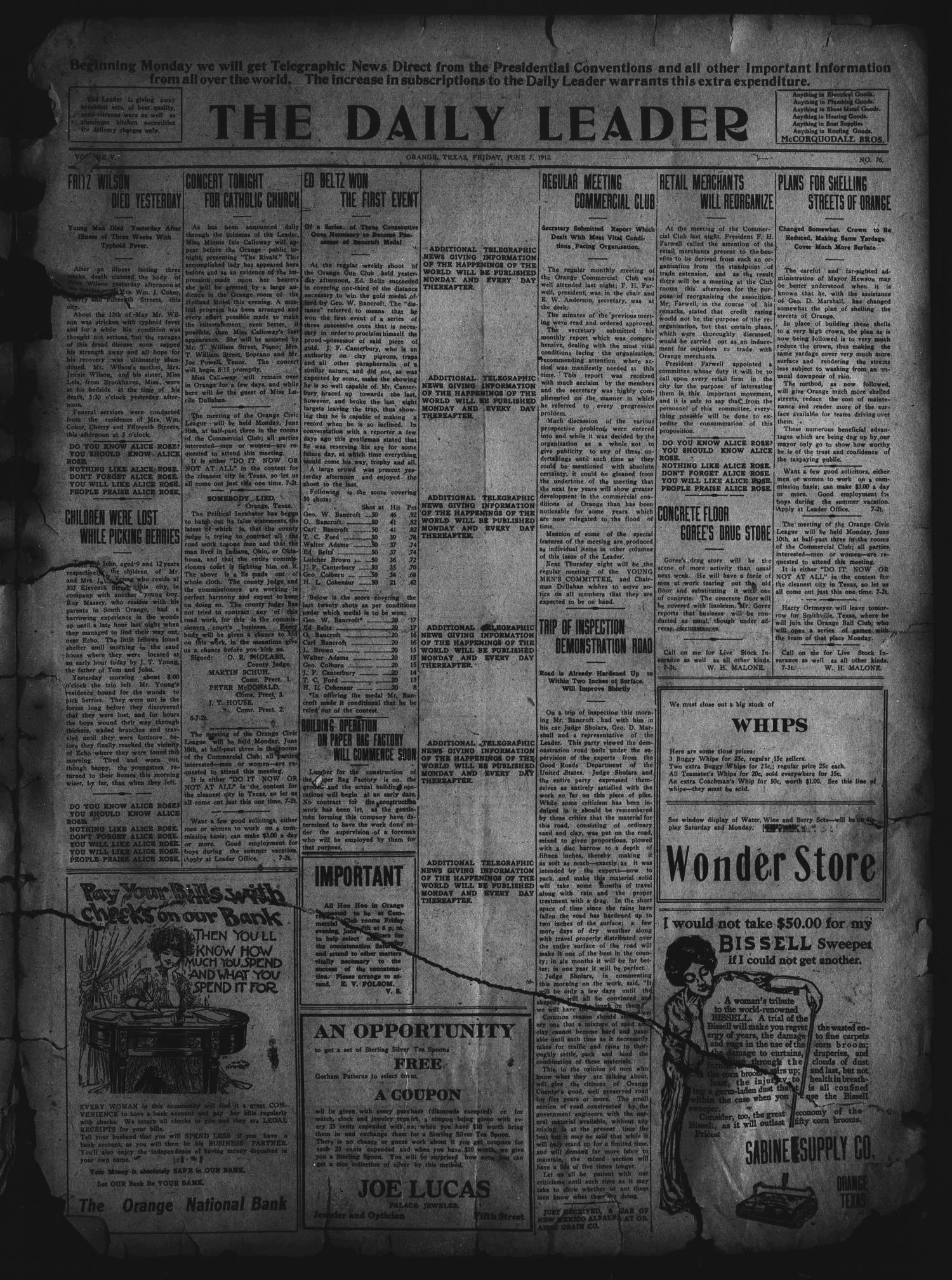 The Daily Leader. (Orange, Tex.), Vol. 5, No. 76, Ed. 1 Friday, June 7, 1912                                                                                                      [Sequence #]: 1 of 4