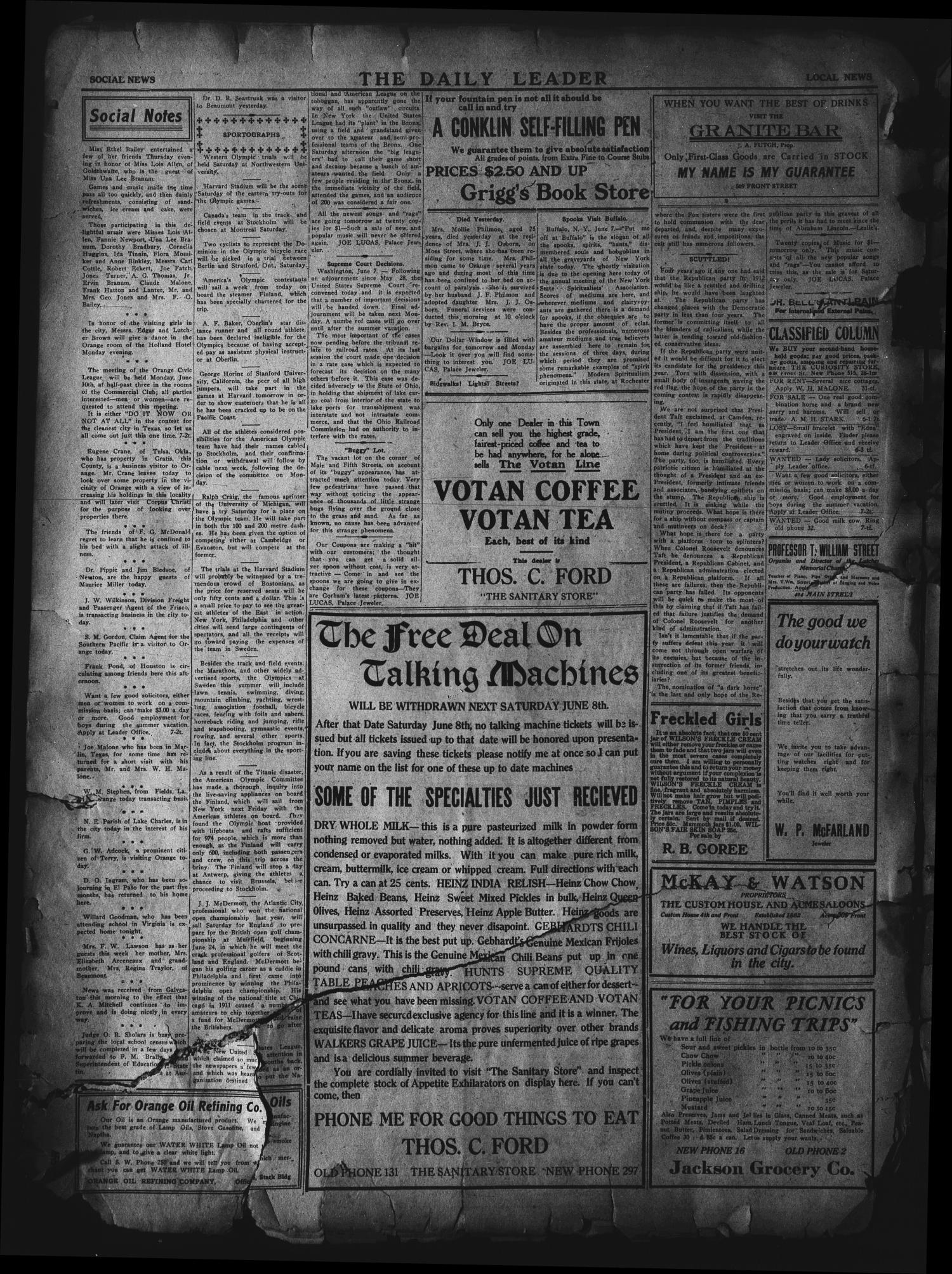The Daily Leader. (Orange, Tex.), Vol. 5, No. 76, Ed. 1 Friday, June 7, 1912                                                                                                      [Sequence #]: 4 of 4