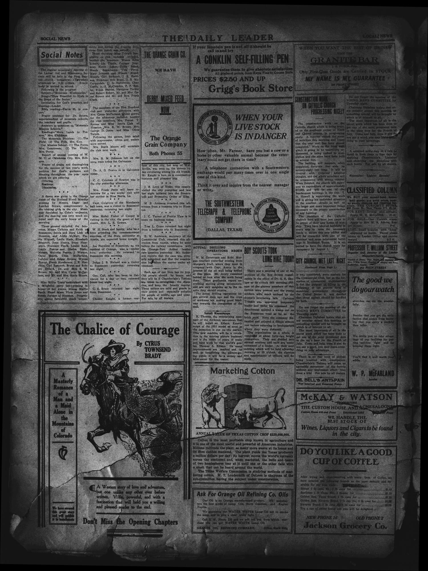 The Daily Leader. (Orange, Tex.), Vol. 5, No. 80, Ed. 1 Wednesday, June 12, 1912                                                                                                      [Sequence #]: 4 of 4