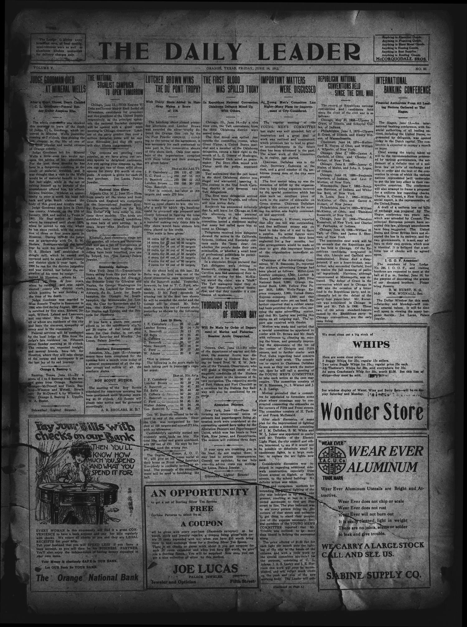The Daily Leader. (Orange, Tex.), Vol. 5, No. 82, Ed. 1 Friday, June 14, 1912                                                                                                      [Sequence #]: 1 of 4