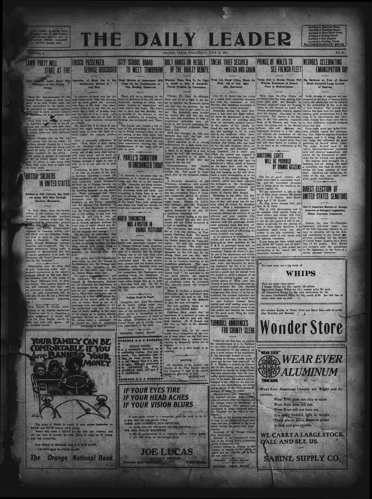 The Daily Leader. (Orange, Tex.), Vol. 5, No. 86, Ed. 1 Wednesday, June 19, 1912                                                                                                      [Sequence #]: 1 of 4