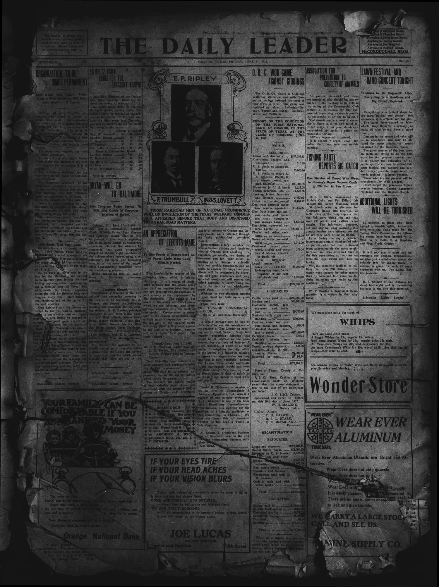 The Daily Leader. (Orange, Tex.), Vol. 5, No. 88, Ed. 1 Friday, June 21, 1912                                                                                                      [Sequence #]: 1 of 4