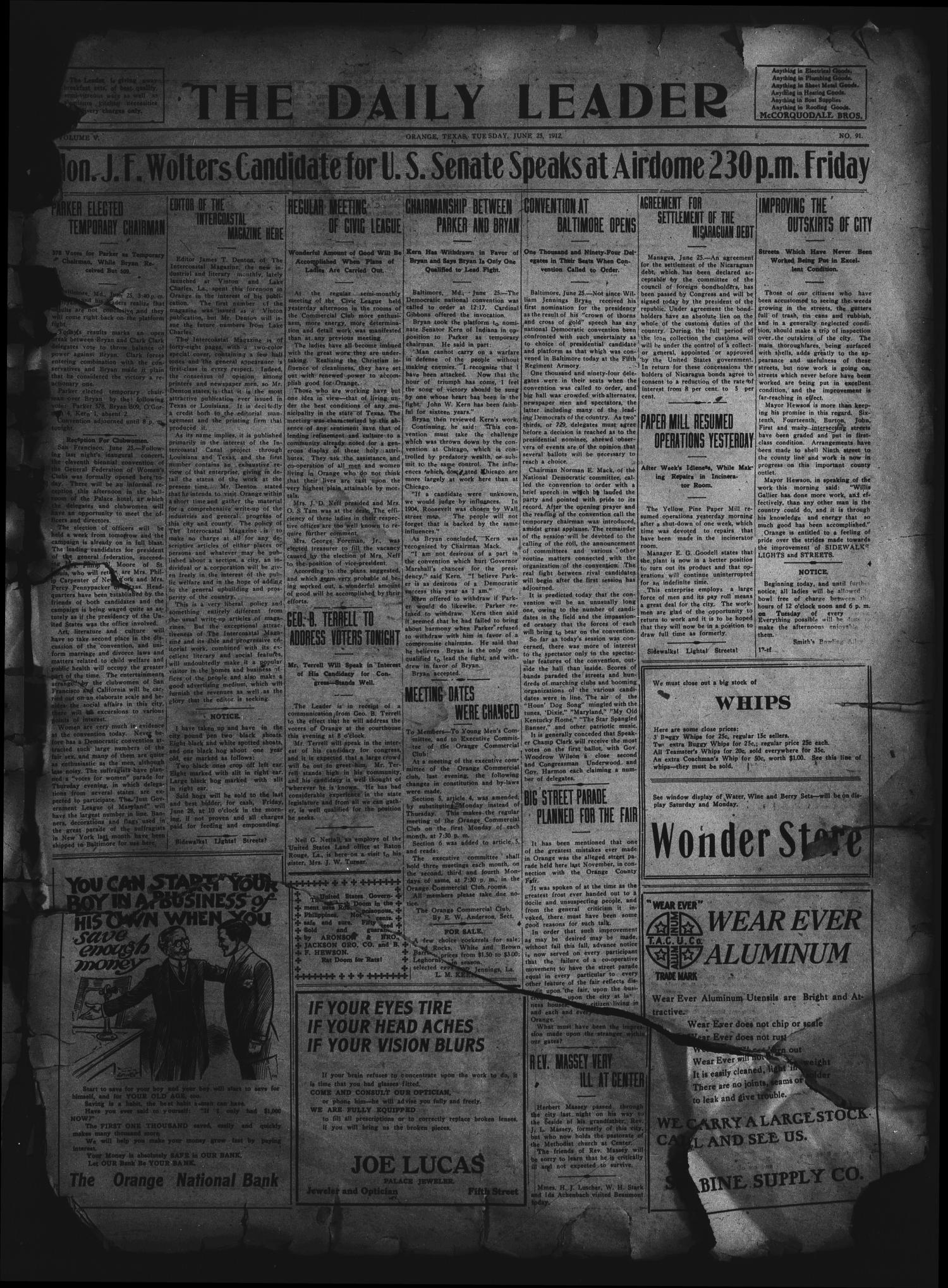 The Daily Leader. (Orange, Tex.), Vol. 5, No. 91, Ed. 1 Tuesday, June 25, 1912                                                                                                      [Sequence #]: 1 of 4