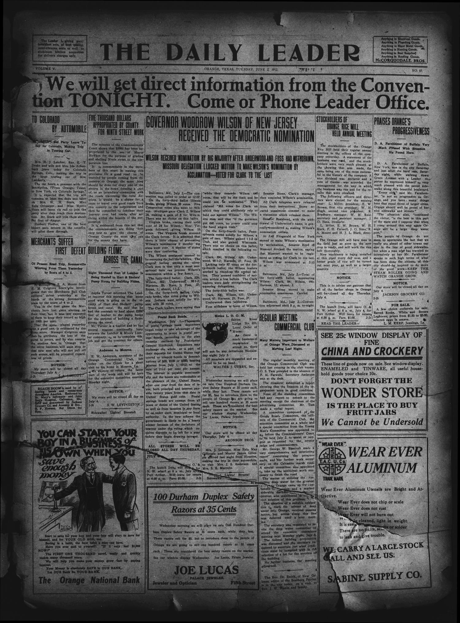 The Daily Leader. (Orange, Tex.), Vol. 5, No. 97, Ed. 1 Tuesday, July 2, 1912                                                                                                      [Sequence #]: 1 of 4