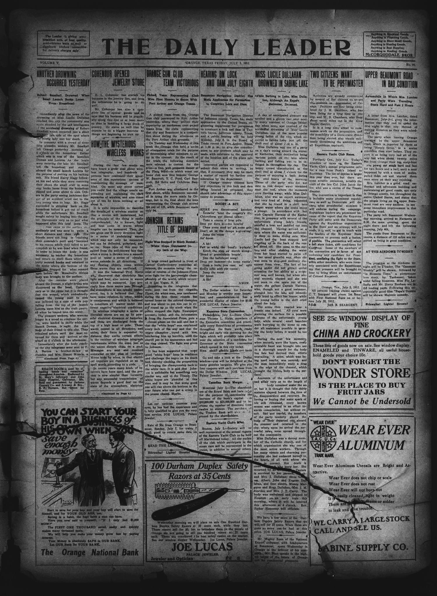 The Daily Leader. (Orange, Tex.), Vol. 5, No. 99, Ed. 1 Friday, July 5, 1912                                                                                                      [Sequence #]: 1 of 4
