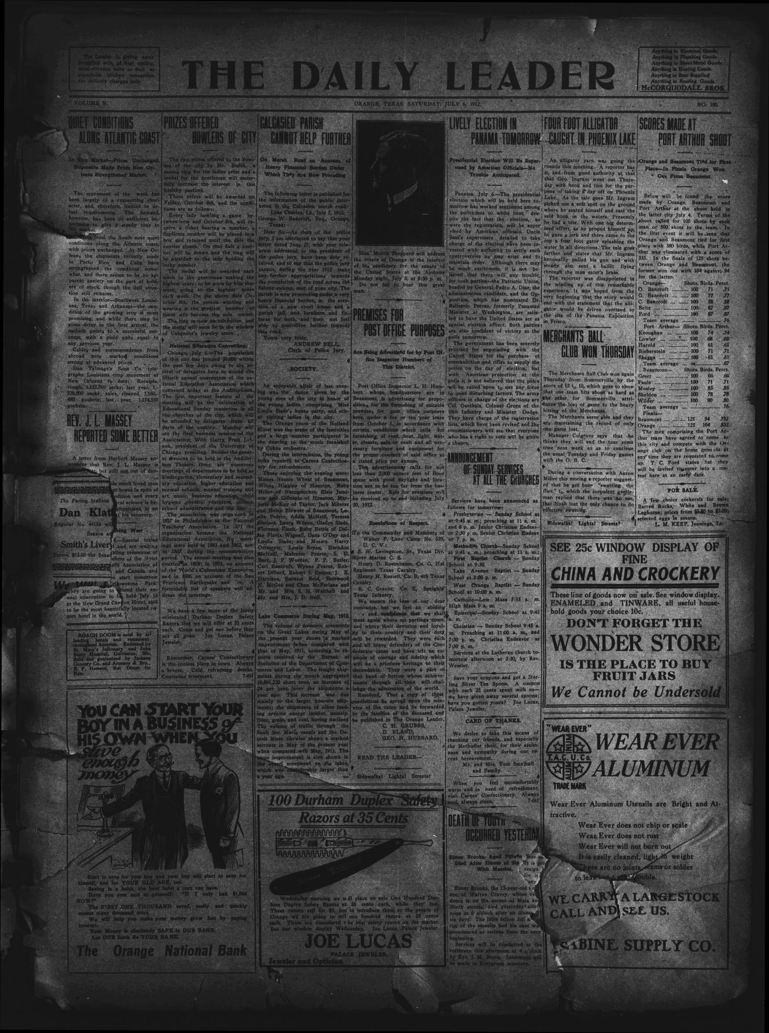 The Daily Leader. (Orange, Tex.), Vol. 5, No. 100, Ed. 1 Saturday, July 6, 1912                                                                                                      [Sequence #]: 1 of 4