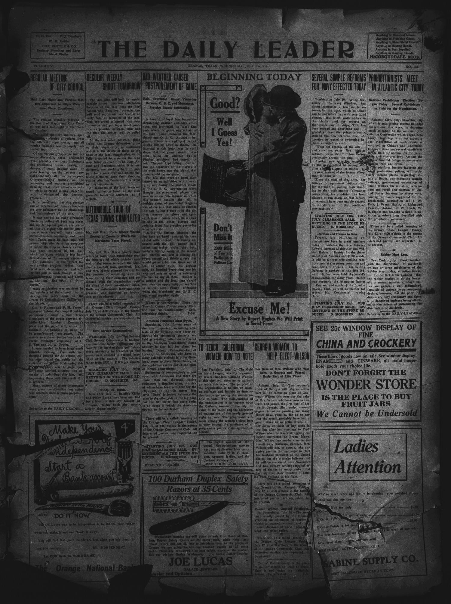 The Daily Leader. (Orange, Tex.), Vol. 5, No. 103, Ed. 1 Wednesday, July 10, 1912                                                                                                      [Sequence #]: 1 of 4