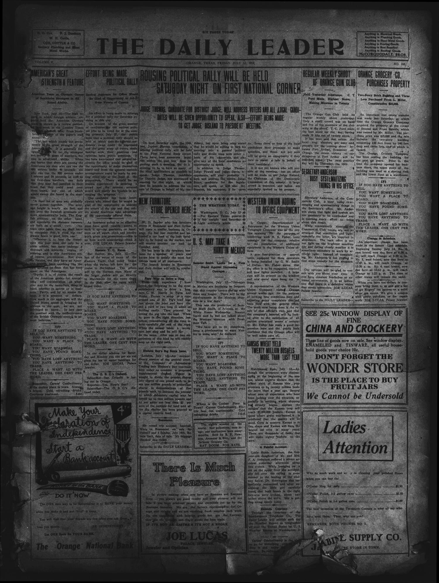 The Daily Leader. (Orange, Tex.), Vol. 5, No. 105, Ed. 1 Friday, July 12, 1912                                                                                                      [Sequence #]: 1 of 6