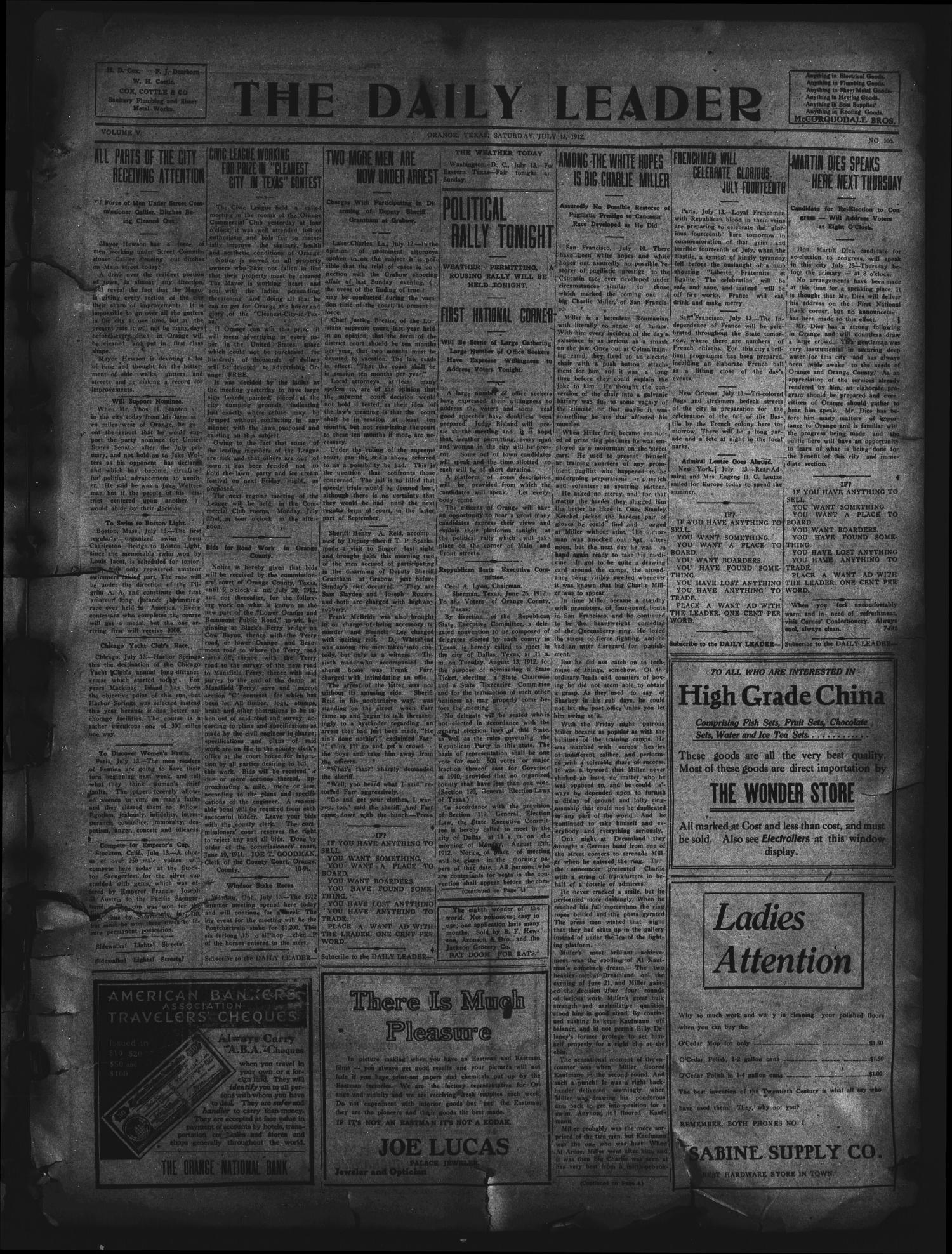 The Daily Leader. (Orange, Tex.), Vol. 5, No. 106, Ed. 1 Saturday, July 13, 1912                                                                                                      [Sequence #]: 1 of 4