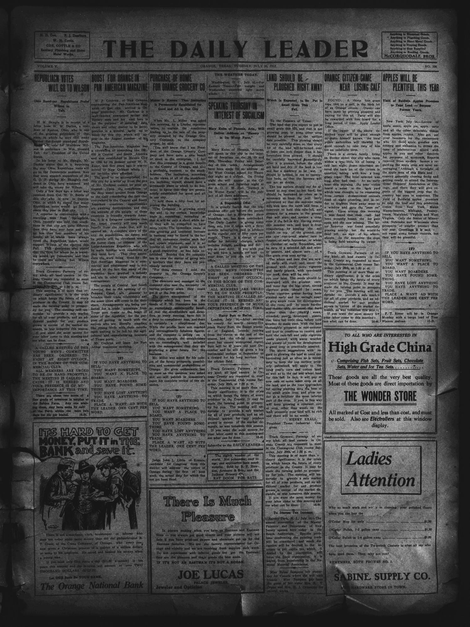 The Daily Leader. (Orange, Tex.), Vol. 5, No. 108, Ed. 1 Tuesday, July 16, 1912                                                                                                      [Sequence #]: 1 of 4