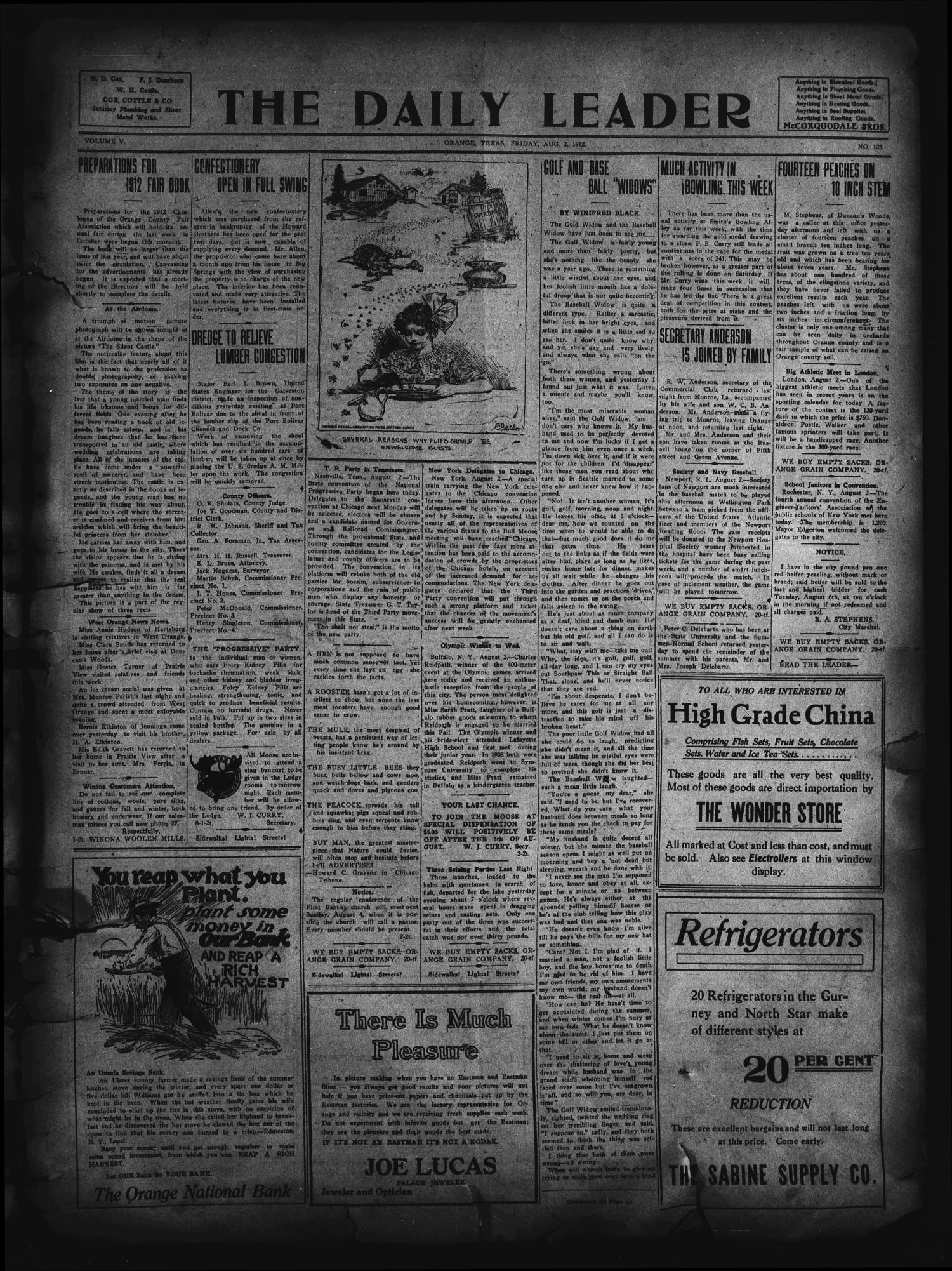 The Daily Leader. (Orange, Tex.), Vol. 5, No. 123, Ed. 1 Friday, August 2, 1912                                                                                                      [Sequence #]: 1 of 4