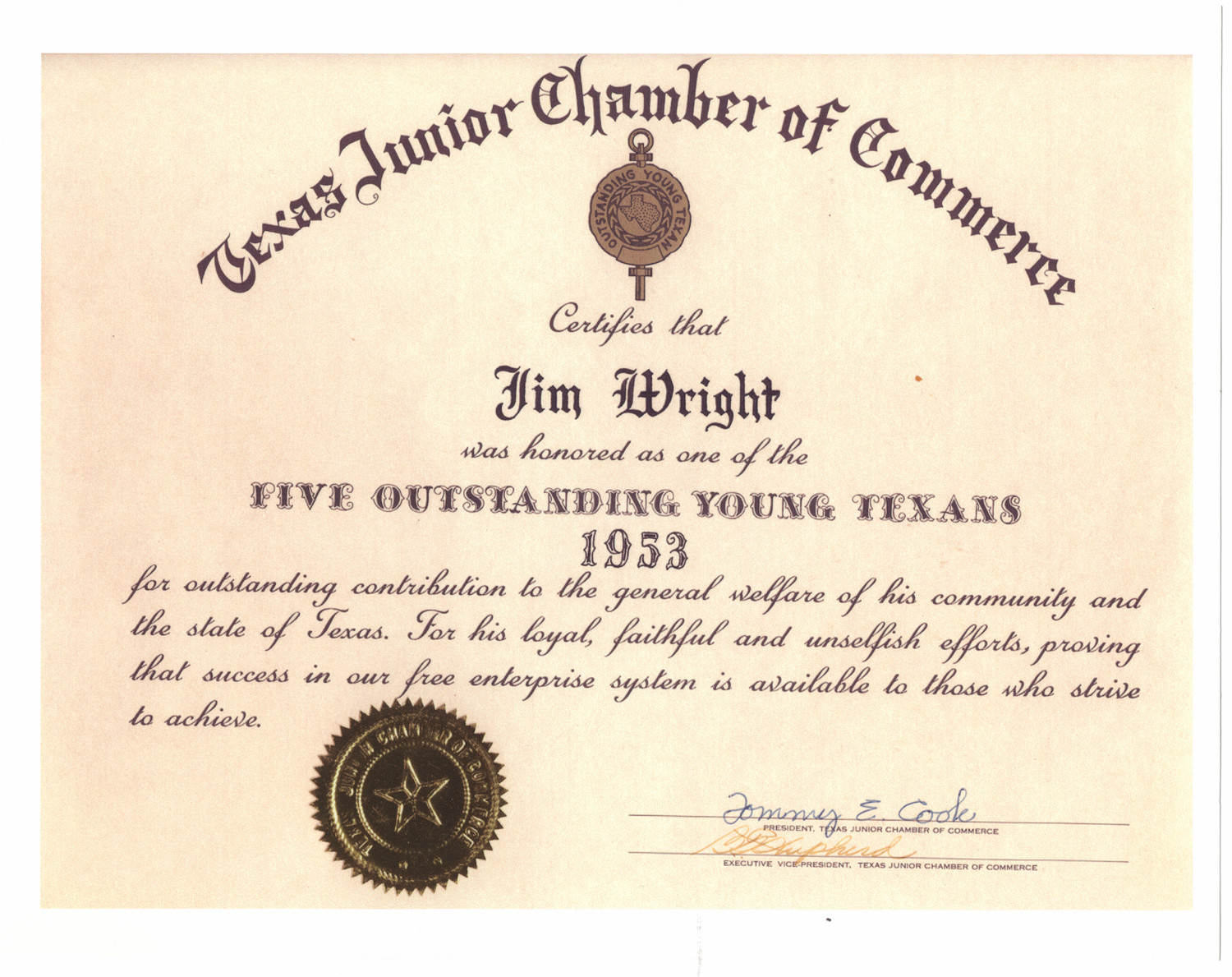 [Jim Wright certificate from the Texas Junior Chamber of Commerce]                                                                                                      [Sequence #]: 1 of 1