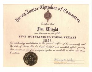Primary view of object titled '[Jim Wright certificate from the Texas Junior Chamber of Commerce]'.