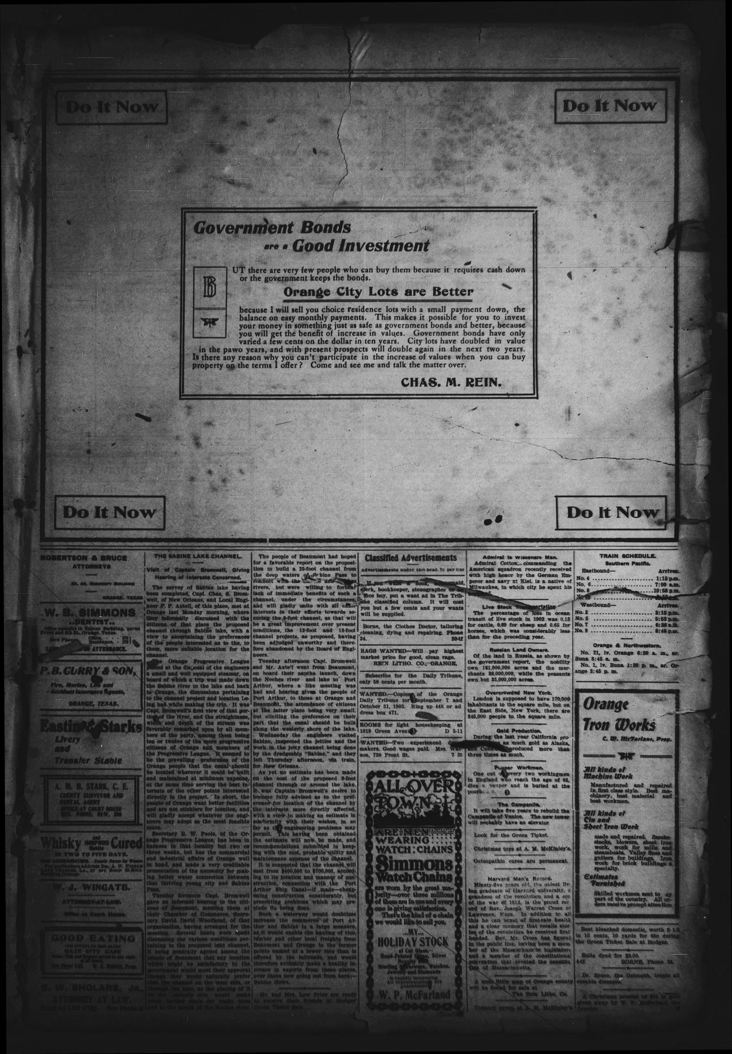 Orange Daily Tribune. (Orange, Tex.), Vol. 2, No. 217, Ed. 1 Tuesday, December 8, 1903                                                                                                      [Sequence #]: 3 of 4