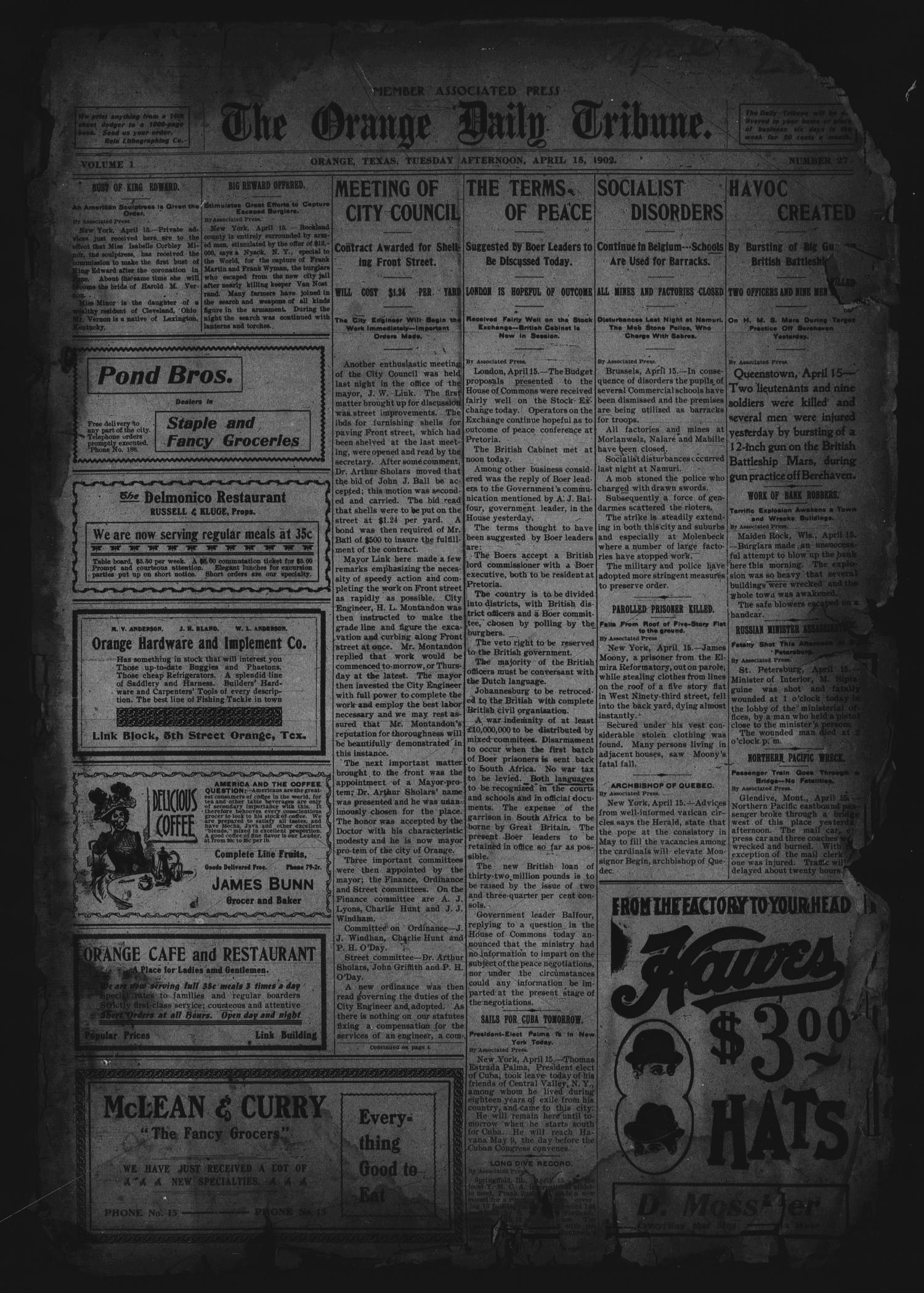 The Orange Daily Tribune. (Orange, Tex.), Vol. 1, No. 27, Ed. 1 Tuesday, April 15, 1902                                                                                                      [Sequence #]: 1 of 4