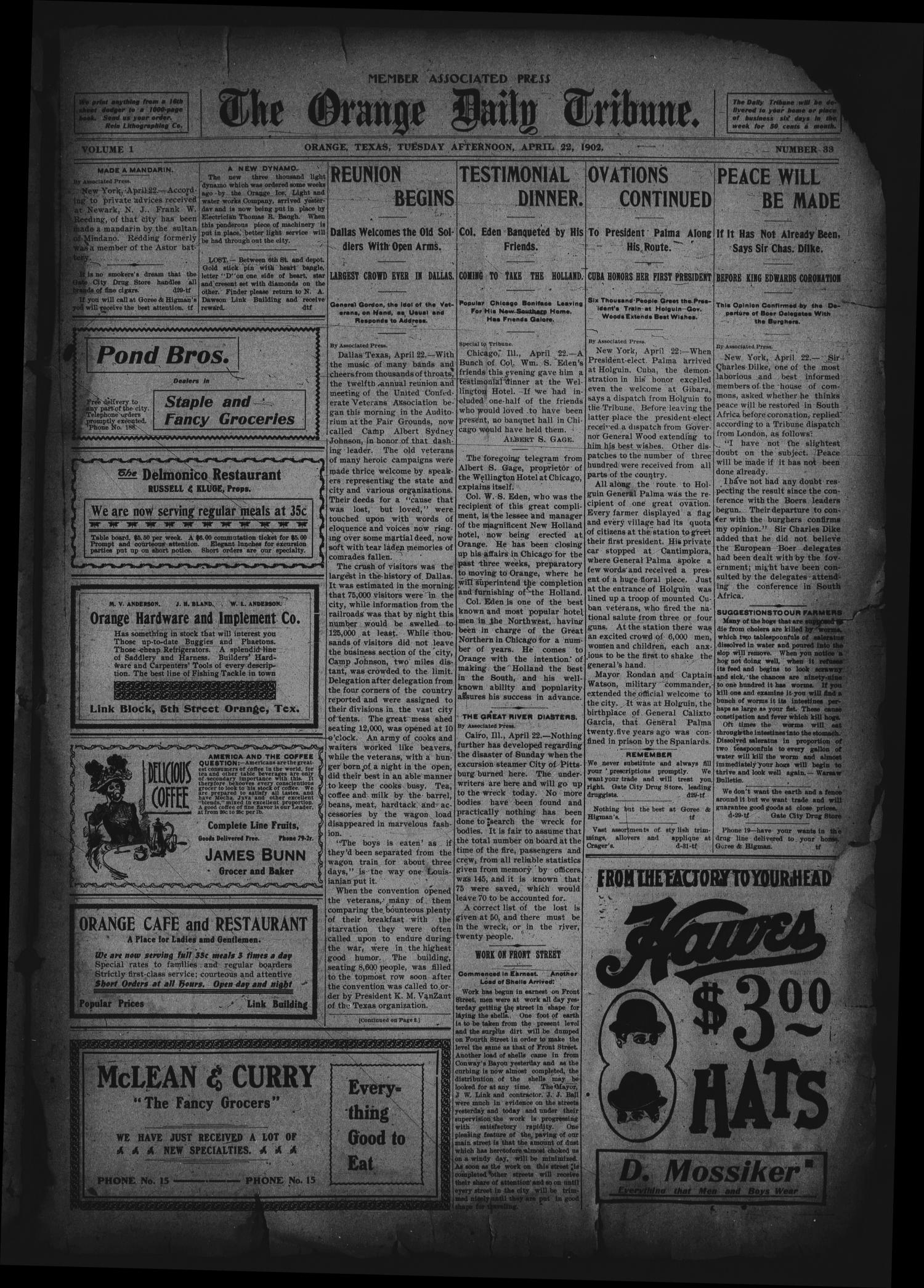 The Orange Daily Tribune. (Orange, Tex.), Vol. 1, No. 33, Ed. 1 Tuesday, April 22, 1902                                                                                                      [Sequence #]: 1 of 4