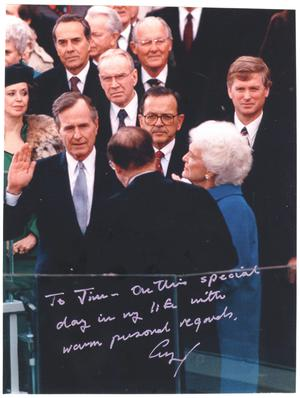 "[Signed photo of President George Bush taking the Presidential ""Oath of Office""]"