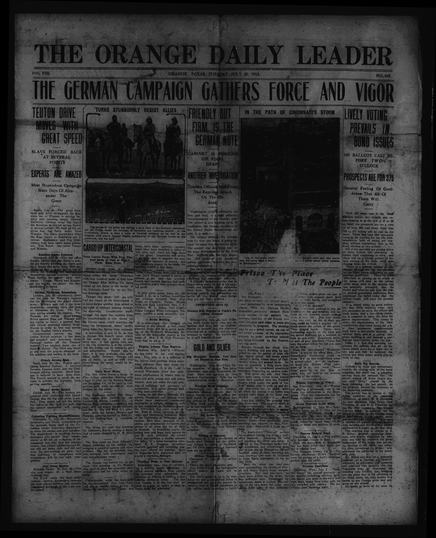 The Orange Daily Leader. (Orange, Tex.), Vol. 8, No. 645, Ed. 1 Tuesday, July 20, 1915                                                                                                      [Sequence #]: 1 of 4