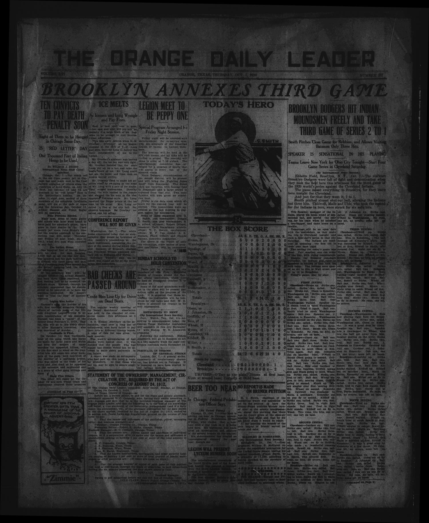 The Orange Daily Leader (Orange, Tex.), Vol. 16, No. 203, Ed. 1 Thursday, October 7, 1920                                                                                                      [Sequence #]: 1 of 6