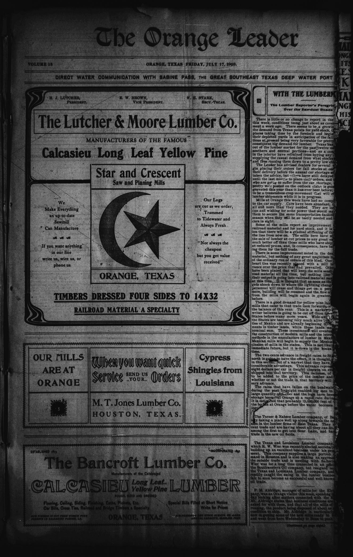 The Orange Leader (Orange, Tex.), Vol. 15, No. 8, Ed. 1 Friday, July 17, 1903                                                                                                      [Sequence #]: 1 of 8