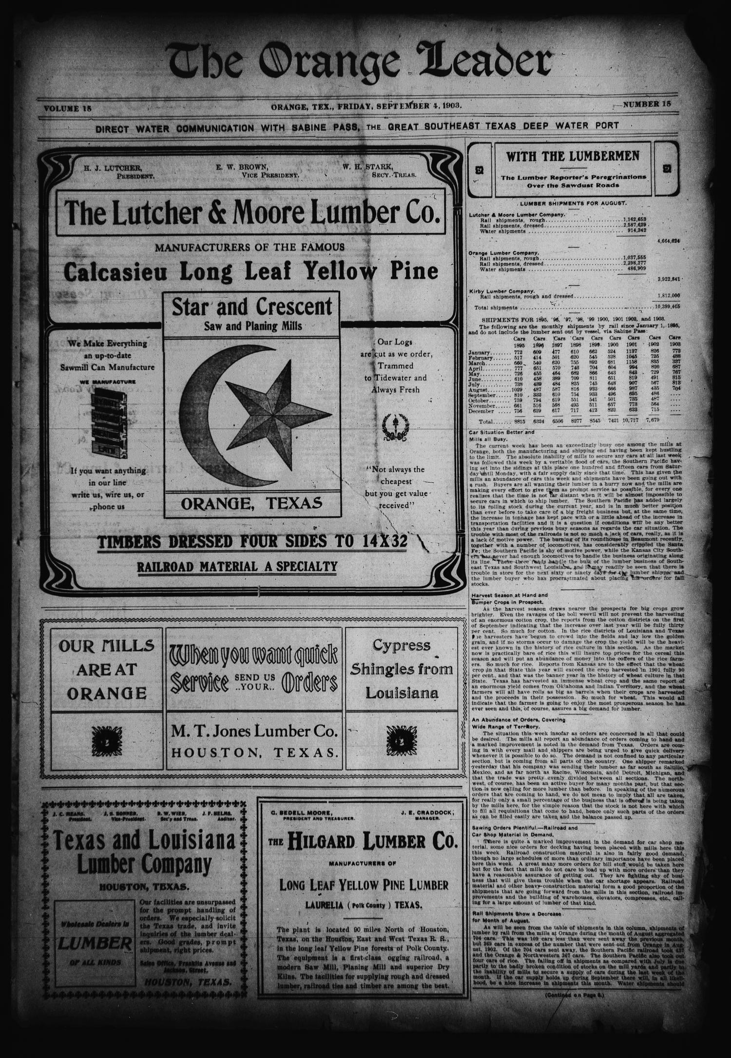The Orange Leader (Orange, Tex.), Vol. 15, No. 15, Ed. 1 Friday, September 4, 1903                                                                                                      [Sequence #]: 1 of 8