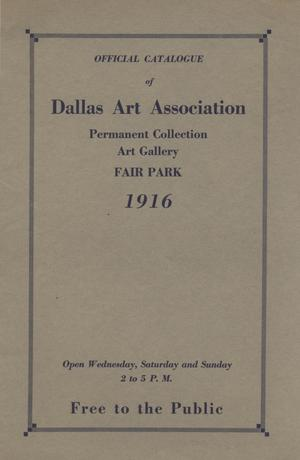 Primary view of object titled 'Official catalogue of Dallas Art Association permanent collection: Art Gallery, Fair Park'.