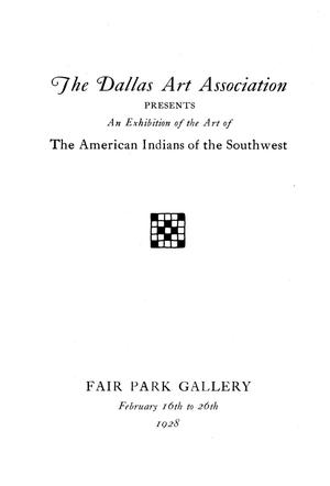 Primary view of object titled 'An Exhibition of the Art of the American Indians of the Southwest'.